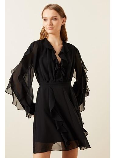 Love My Body Kruvaze Volanlı Şifon Elbise Siyah